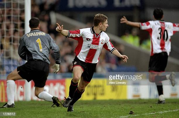 Marian Pahars of Southampton celebrates his goal against Wimbledon during the FA Carling Premiership match at Selhurst Park in London The game ended...