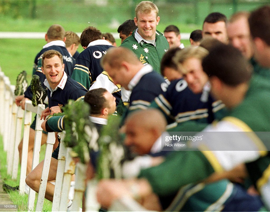 Mark Conners of Australia jokes with teamates during Australia training at the Young Munster Ground, Limerick, Ireland as Australia prepare for their final Pool E match against the USA. Mandatory Credit: Nick Wilson/ALLSPORT