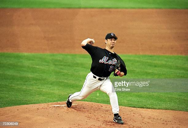 Masato Yoshii of the New York Mets winds back to pitch the ball during the National League Championship Series game four against the Atlanta Braves...