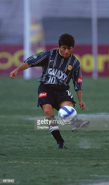 Mauricio Cienfuegos of the Los Angeles Galaxy kicks the ball during the Western Conference Final game against the Dallas Burn at the Rose Bowl in...