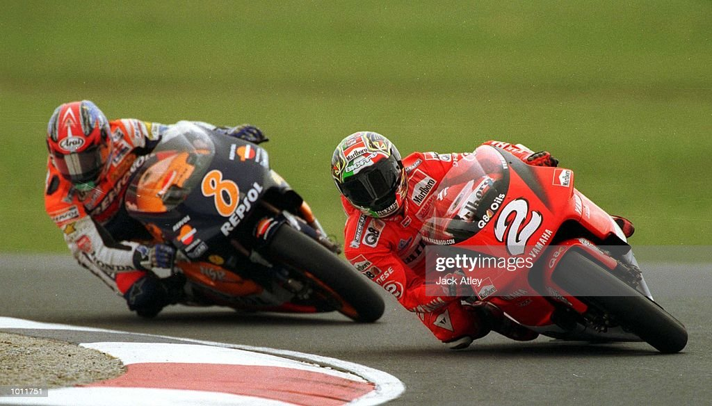 Max Biaggi #2 of Italy leads Tadayuki Okada #8 of Japan during the 500cc race at the 1999 Australian Motorbike Grand Prix at Phillip Island, Victoria, Australia. Okada went on to just win the race from Biaggi. Mandatory Credit: Jack Atley/ALLSPORT