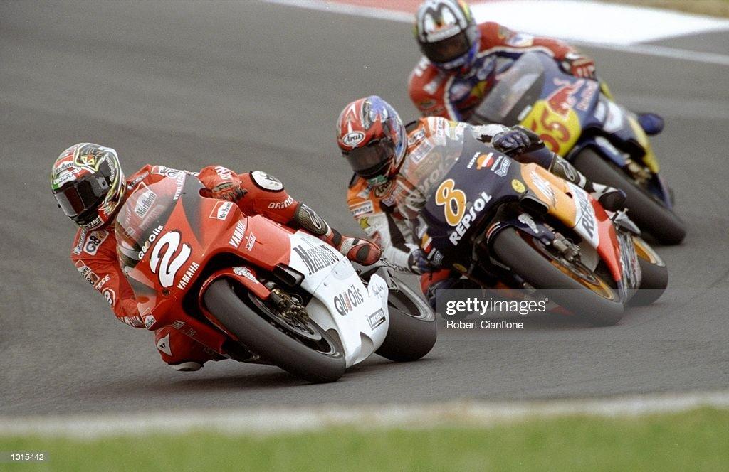 Max Biaggi #2, Tadayuki Okada #8 and Regis Laconi #55 in a close battle during the 500cc race at the Australian Motorbike Grand Prix held at Phillip Island in Victoria, Australia. \ Mandatory Credit: Robert Cianflone /Allsport
