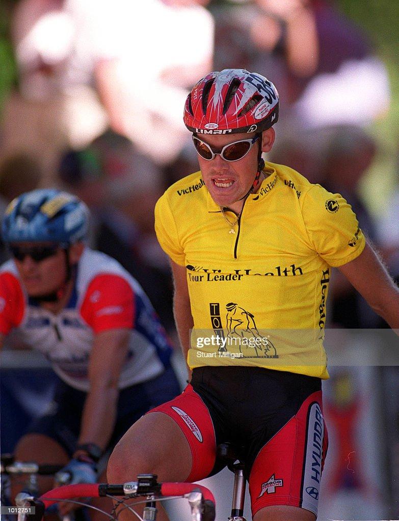 Michael Blaudzun, of Denmark crosses the finish line for first place in the 1999 Vic Health Herald Sun Tour held at Kings Domain Park, Melbourne, Australia. Mandatory Credit: Stuart Milligan/ALLSPORT