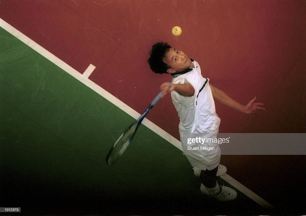 Michael Chang of the U.S.A, serves during his second round match against Jan Michael Gambill, from Canada during the Heineken Singapore Tennis Open, played at the Singapore Indoor Stadium, Singapore. Michael defeated Chang 6-2, 7-6. Mandatory Credit: Stuart Milligan/ALLSPORT