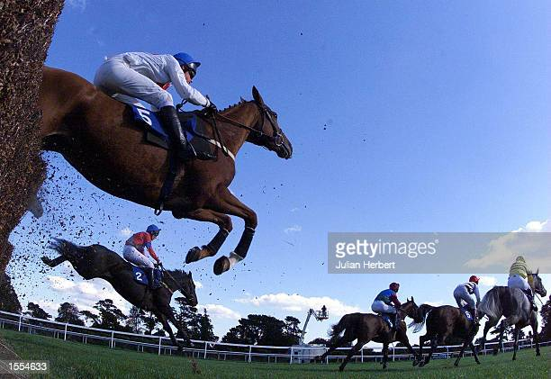 Mick Fitzgerald and River Bay lead the field away from one of the fences at Fontwell Park before going on to win The Franf Cundell Handicap Steeple...