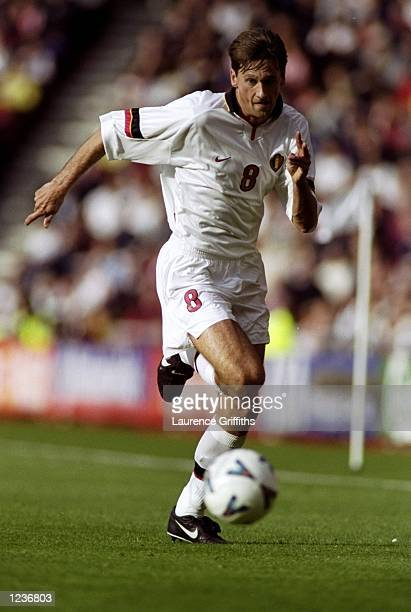 Nico van Kerckhoven of Belgium on the ball against England during the International Friendly at the Stadium of Light in Sunderland England England...