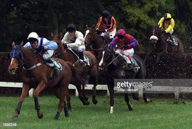Norman Williamson and Sparkling Cone trail the leaders at Stratford before landing The Quality Teachers Handicap Steeple Chase Mandatory Credit...