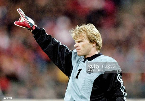 Oliver Kahn in goal for Germany during the Euro 2000 qualifier against Turkey at the Olympiastadion in Munich, Germany. \ Mandatory Credit: Gary...