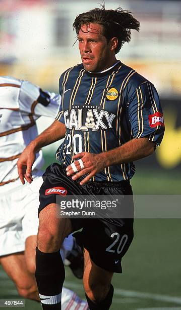 Paul Caligiuri of the Los Angeles Galaxy runs on the field during the Western Conference Final game against the Dallas Burn at the Rose Bowl in...