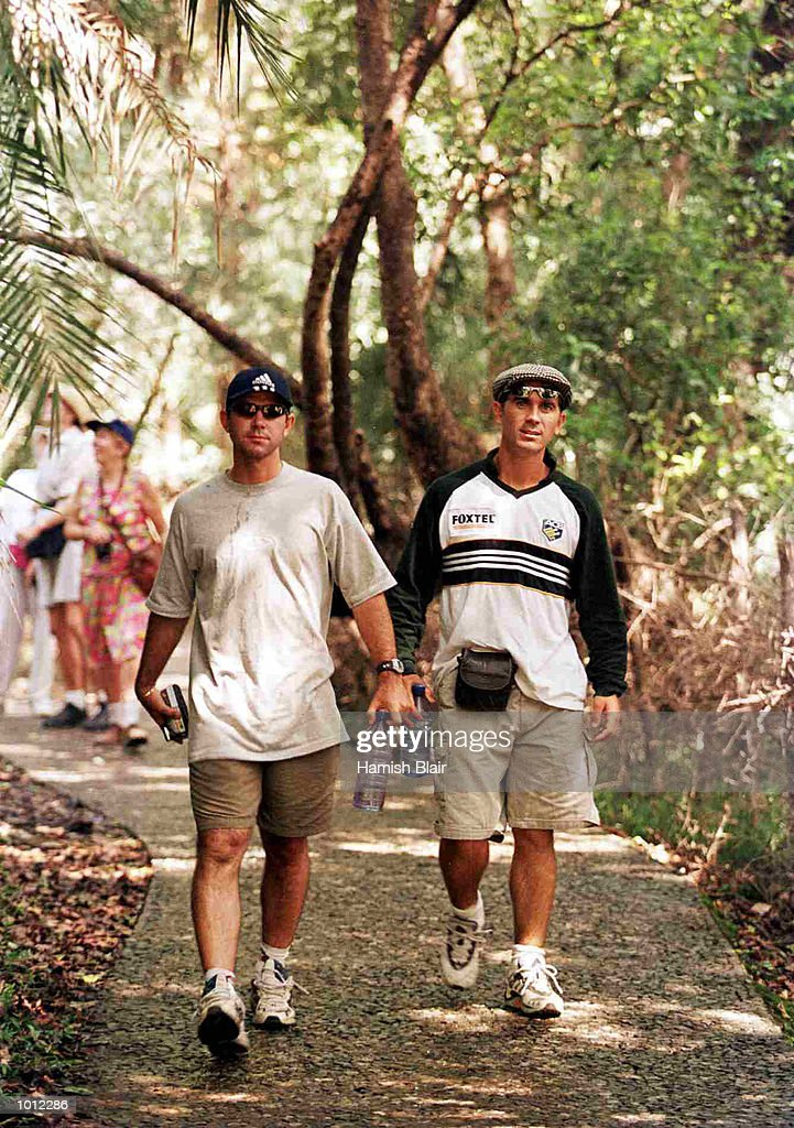 Ricky Ponting and Justin Langer walk at the Victoria Falls in Zimbabwe. Mandatory Credit: Hamish Blair/ALLSPORT