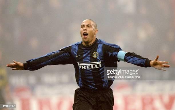 Ronaldo of Inter Milan celebrates his goal against AC Milan during the Serie A match at the San Siro in Milan Italy Mandatory Credit Claudio Villa...