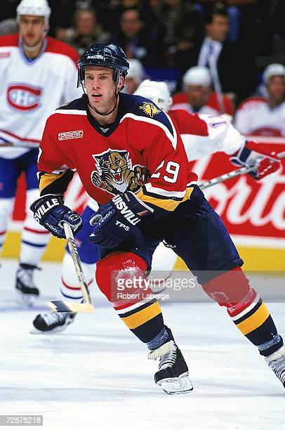 Ryan Johnson of the Florida Panthers skates during a game against the Montreal Canadiens at the Molson Centre in Montreal Canada The Panthers...
