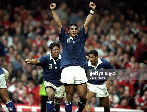 Semo Sititi of Samoa celebrates victory over Wales in the Rugby World Cup Pool D match at the Millennium Stadium in Cardiff Wales Samoa won 3831...