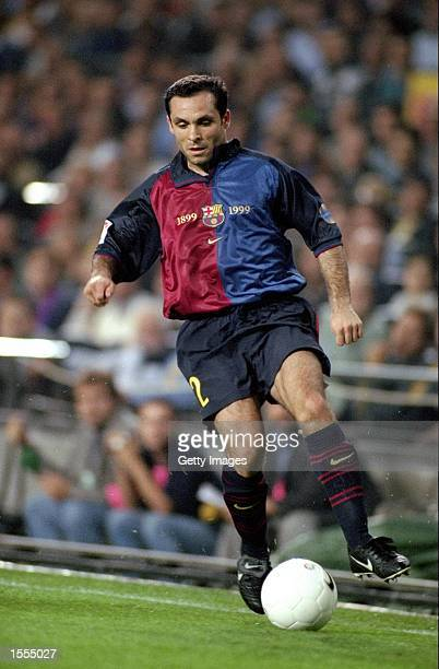 Sergi Barjuan of Barcelona on the ball against Real Madrid during the Spanish Primera Liga match at the Nou Camp in Barcelona Spain The game ended 22...