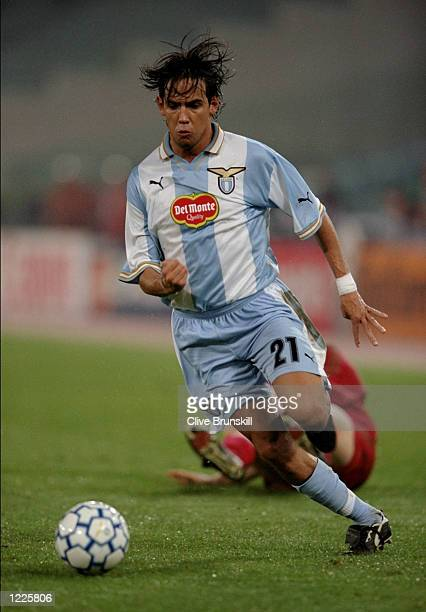 Simone Inzaghi of Lazio in action during the UEFA Champions League Group A match between Lazio and Bayer Leverkusen played at the Stadio Olimpico...