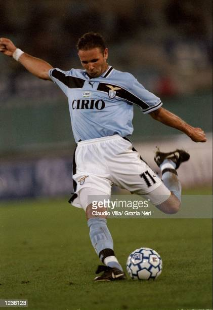 Sinisa Mihajlovic of Lazio in action against AC Milan during the Serie A match at the Stadio Olimpico in Rome Italy Mandatory Credit Claudio Villa...