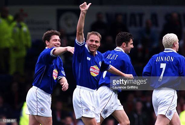 Steve Guppy of Leicester City celebrates the first goal against Southampton during the FA Carling Premiership fixture at Filbert Street Leicester...