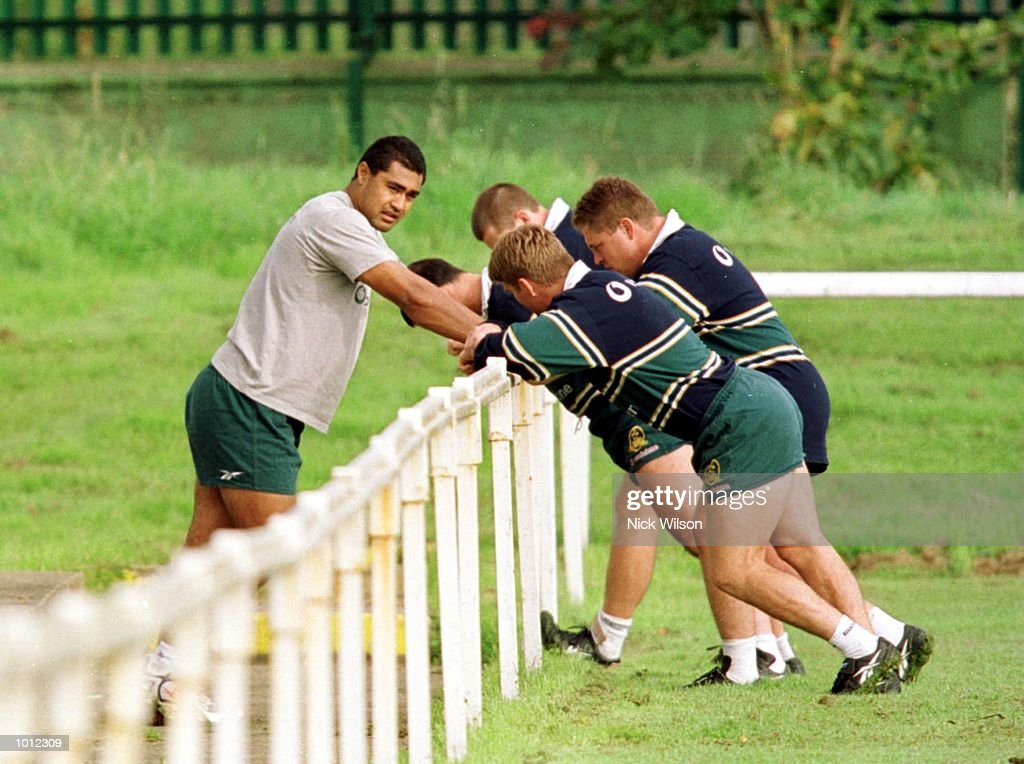 Tatai Kefu of Australia talks to teamates during Australian training at the Young Munster Ground, Limerick, Ireland. He is serving a fourteen day ban after being cited during the Rugby World Cup Finals. Mandatory Credit: Nick Wilson/ALLSPORT
