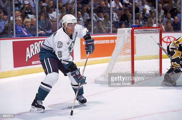 Teemu Selanne of the Anaheim Mighty Ducks waits for the puck during the game against the Boston Bruins at The Arrowhead Pond in Anaheim California...