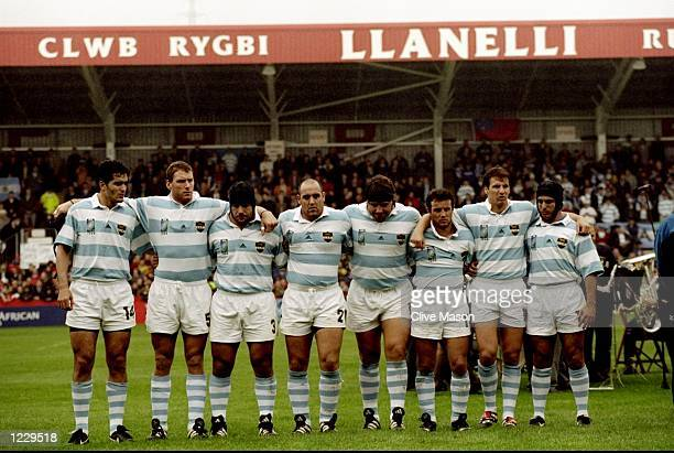 The Argentina team line up before the World Cup Pool D match between Argentina and Samoa played at Stradey Park Llanelli Wales The game finished in...