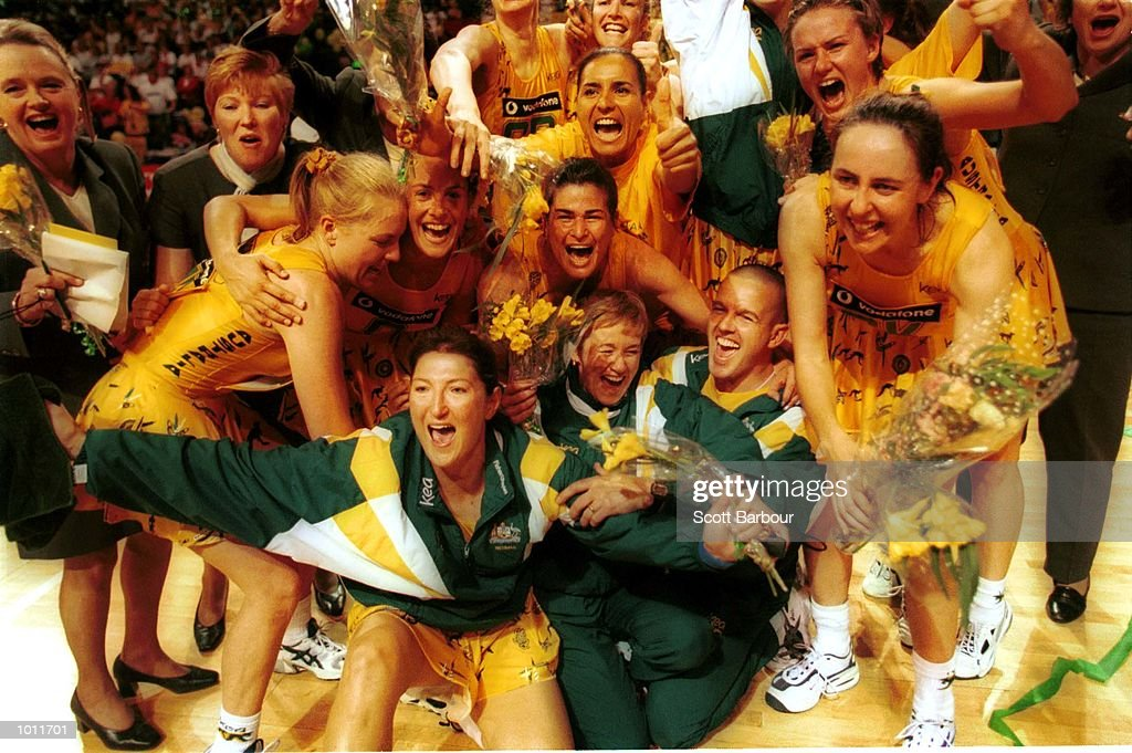 The Australian team celebrate after they beat New Zealand in the Final of the 1999 World Netball Championships held at the WestPac Trust Centre, Christchurch, New Zealand. Mandatory Credit: Scott Barbour/ALLSPORT