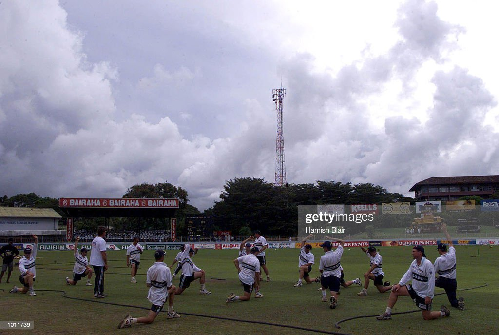 The Australians warm up under threatening clouds as a sodden outfield delays the start of play, on day four of the 3rd Test between Sri Lanka and Australia at Singhalese Sports Club, Colombo, Sri Lanka.X Mandatory Credit: Hamish Blair/ALLSPORT
