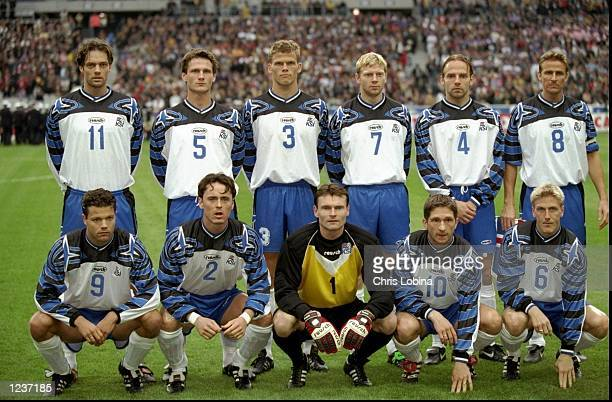 The Iceland team line up prior to the EURO 2000 Group 4 Qualifier between France and Iceland played at the Stade de France SaintDenis Paris France...