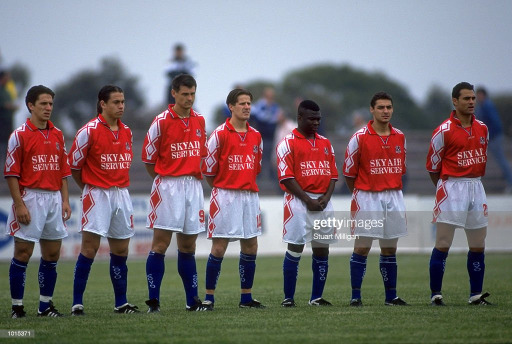 The Melbourne Knights line up before the National Soccer League Round 1 match against the Brisbane Strikers played at Knights Stadium in Melbourne, Australia. The game finished in a 1-0 win for the Brisbane Strikers. \ Mandatory Credit: Stuart Milligan /Allsport