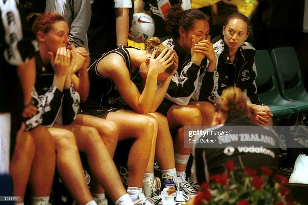 The New Zealand team after losing the Final of the 1999 World Netball Championships held at the WestPac Trust Centre, Christchurch, New Zealand. Australia defeated New Zealand 42-41. Mandatory Credit: Scott Barbour/ALLSPORT