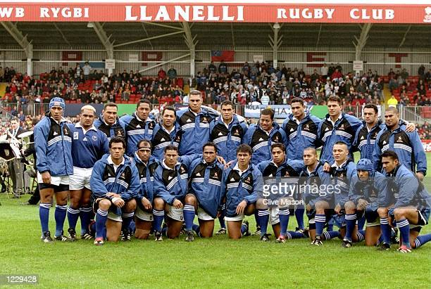 The Samoan team line up before the World Cup Pool D match between Argentina and Samoa played at Stradey Park Llanelli Wales The game finished in 3216...