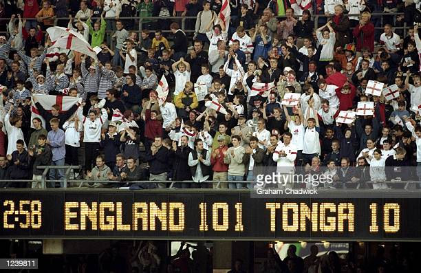 The scoreboard tells the story as England trounce Tonga in the Rugby World Cup Pool B match at Twickenham in London England won 10110 Mandatory...
