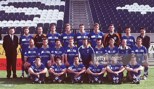 The South Melbourne Soccer team group during a team photograph at Bob Jane Stadium Melbourne Australia Back Row George Vasilopoulos Steve Iosifidis...