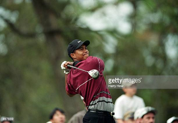 Tiger Woods watches the ball after hitting it during The Tour Championship at the Champions Golf Club in Houston Texas Mandatory Credit Harry How...