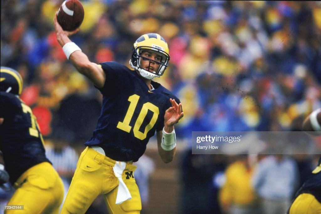 Tom Brady #10 of the Mishigan Wolverines gets ready to pass the ball during the game against the Purdue Boilermakers at the Michigan Stadium in Ann Arbor, Mishigan. The Wolverrines defeated the Boilermakers 38-12. Mandatory Credit: Harry How /Allsport