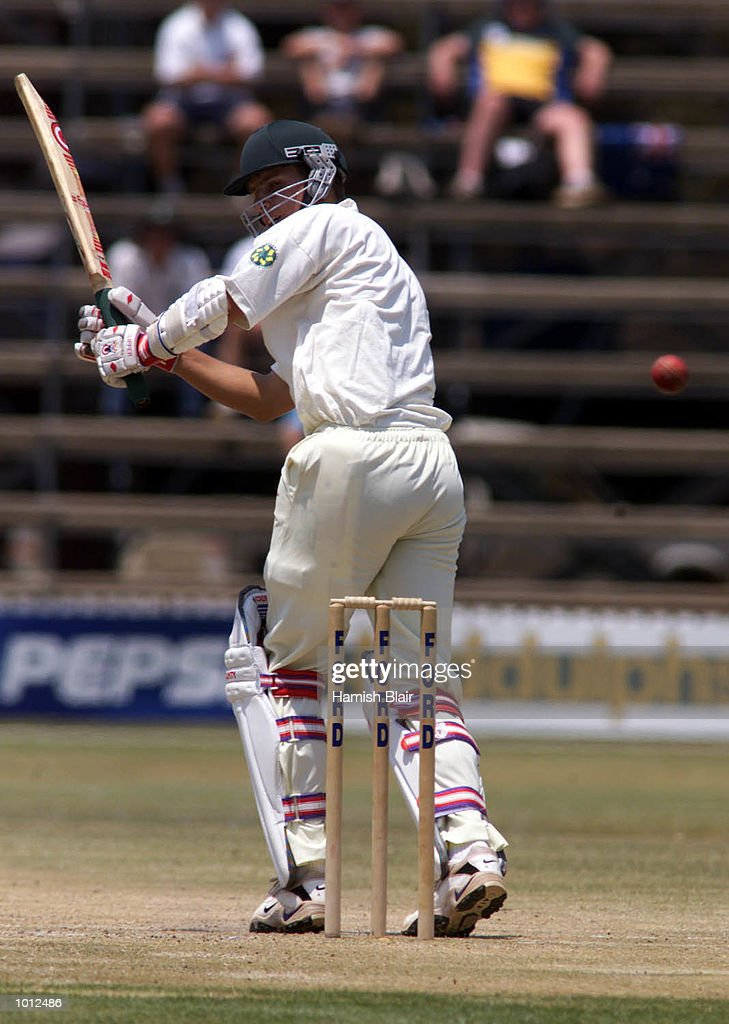 Trevor Gripper of Zimbabwe flicks away down leg side on his way to a half century, during day four of the one off test match between Zimbabwe and Australia at Harare Sports Club, Harare, Zimbabwe.X Mandatory Credit: Hamish Blair/ALLSPORT