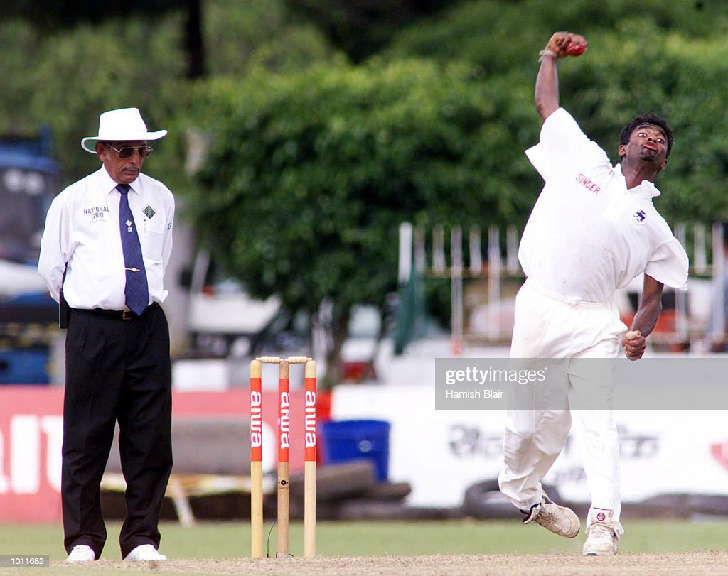 Umpire KT Francis watches the bowling action of Muttiah Muralitharan of Sri Lanka, on day two of the 3rd Test between Sri Lanka and Australia at Singhalese Sports Club, Colombo, Sri Lanka.X Mandatory Credit: Hamish Blair/ALLSPORT