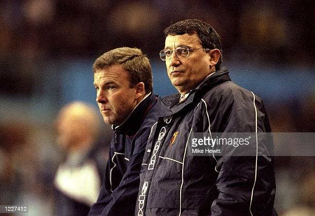Watford manager Graham Taylor with his assistant Kenny Jacket during the FA Carling Premiership match against Coventry City at Highfield Road in...