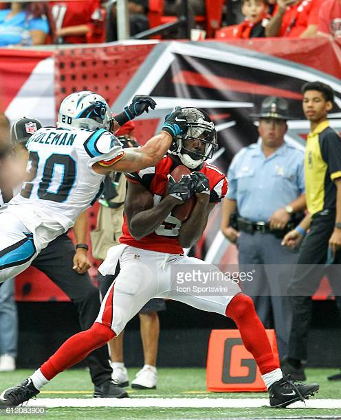 Atlanta Falcons wide receiver Aldrick Robinson pulls down a touchdown pass during the second half of the NFL game between the Carolina Panthers and...