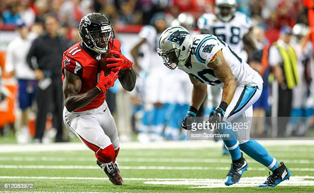 Atlanta Falcons wide receiver Julio Jones catches a pass for a touchdown during the NFL game between the Carolina Panthers and the Atlanta Falcons...
