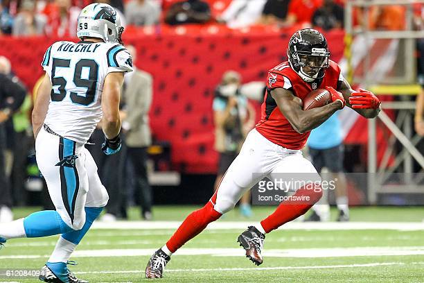 Atlanta Falcons wide receiver Julio Jones in action during the first half of the NFL game between the Carolina Panthers and the Atlanta Falcons The...