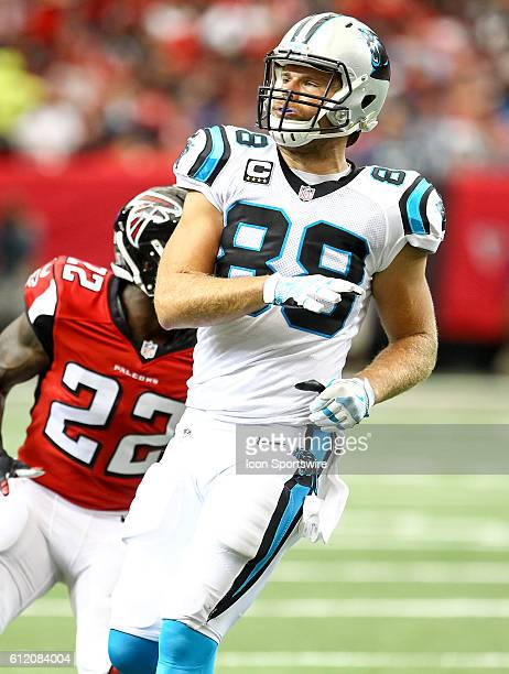 Carolina Panthers tight end Greg Olsen in action during the second half of the NFL game between the Carolina Panthers and the Atlanta Falcons The...