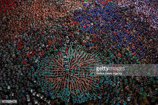 Oct 2 2016 Members of a human tower group perform during the 26th Human Towers Competition in the old bullring of Tarragona Spain Oct 2 2016