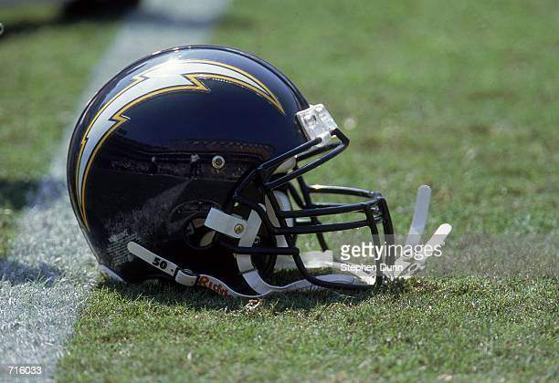 Close up view of a helmet of the San Diego Chargers taken on the field during the game against the Denver Broncos at the Qualcomm Stadium in San...