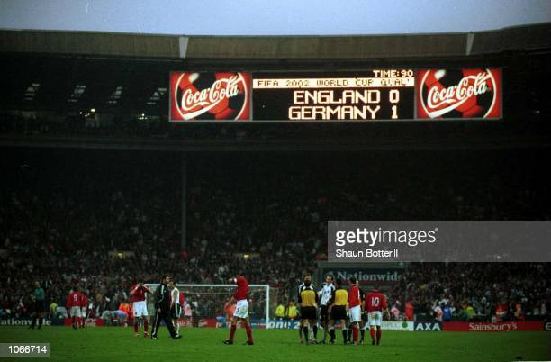A dejected England team after losing onenil in the match between England and Germany in the European Group Nine World Cup Qualifier at Wembley...