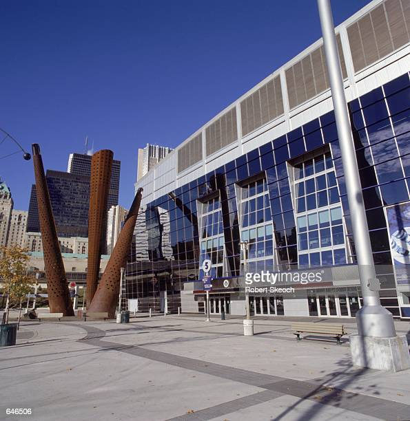 A general exterior view of the Air Canada Centre in Toronto Canada during the game between the Toronto Raptors and the Detroit Pistons The Pistons...