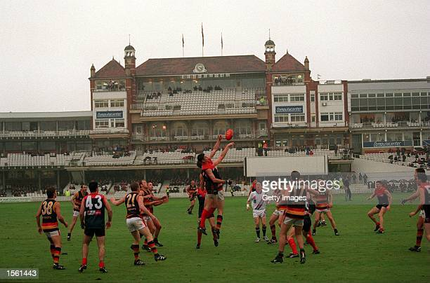 A general view of the action during the AFL Australian Football Cup match between Melbourne Demons and Adelaide Crows played at the Fosters Oval in...