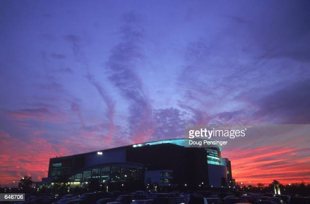 A general view of the exterior of the First Union Center in Philadelphia Pennsylvaina during the game between the New York Rangers and the...