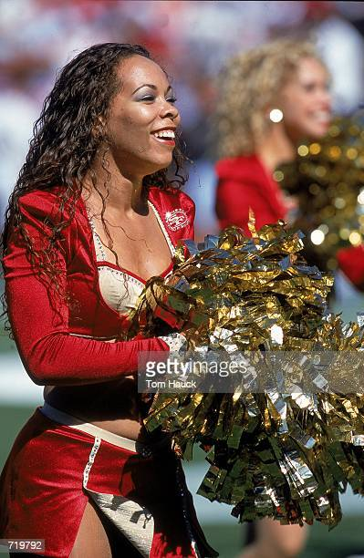 A view of a San Francisco 49ers cheerleader performing during the game against the Arizona Cardinals at the 3 Com Park in San Francisco California...