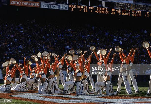 A view of the Denver Broncos cheerleaders performing during the game against the Cleveland Browns at the Mile High Stadium in Denver Colorado The...