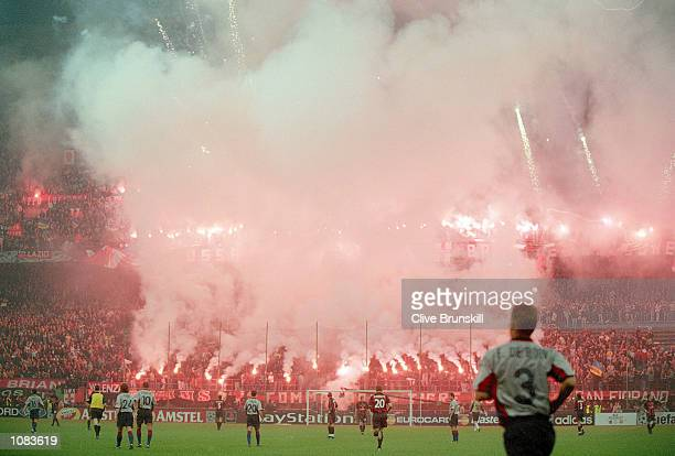 AC Milan fans before the UEFA Champions League match against Barcelona at the San Siro in Milan Italy The match was drawn 33 Mandatory Credit Clive...